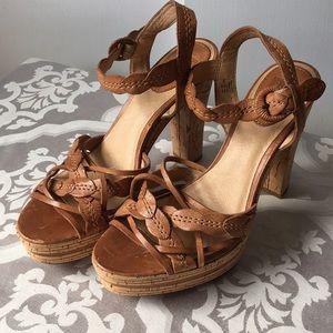 Frye Lena Leaf Leather High Heel Sandals